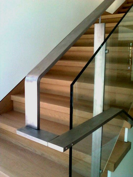 """2 x 1/2"""" Machined stainless steel hand rail with suspended ..."""