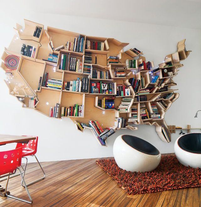 American Map Bookshelf United States Of Books Clever Home - Map ideas for the us