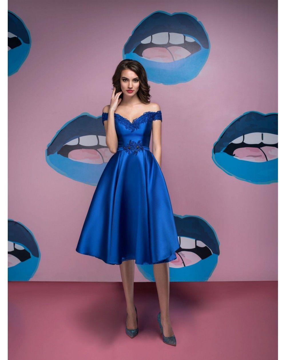 5c685c26c0bc Modré retro šaty s padnutými ramienkami z luxusného mikáda. Spoločenské šaty  pre svadobnú mamu