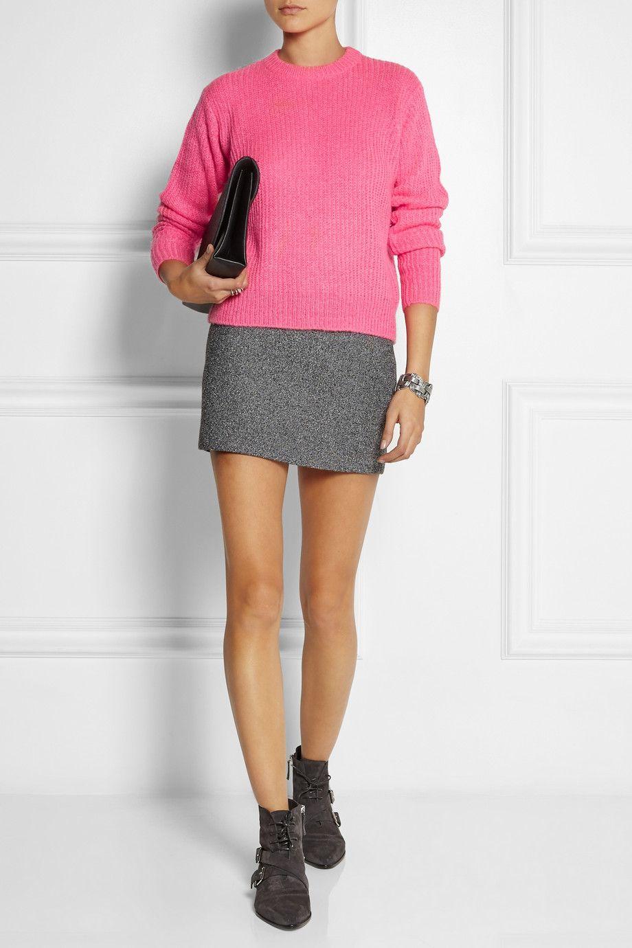 T by Alexander Wang Mesh-bonded neoprene mini skirt. #pink #love