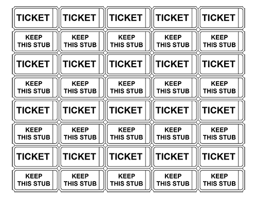 Printable Admission Tickets without Numbers Crafts Pinterest
