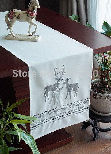 Cheap Bordado navidad cationes X mas camino de mesa con plata elk