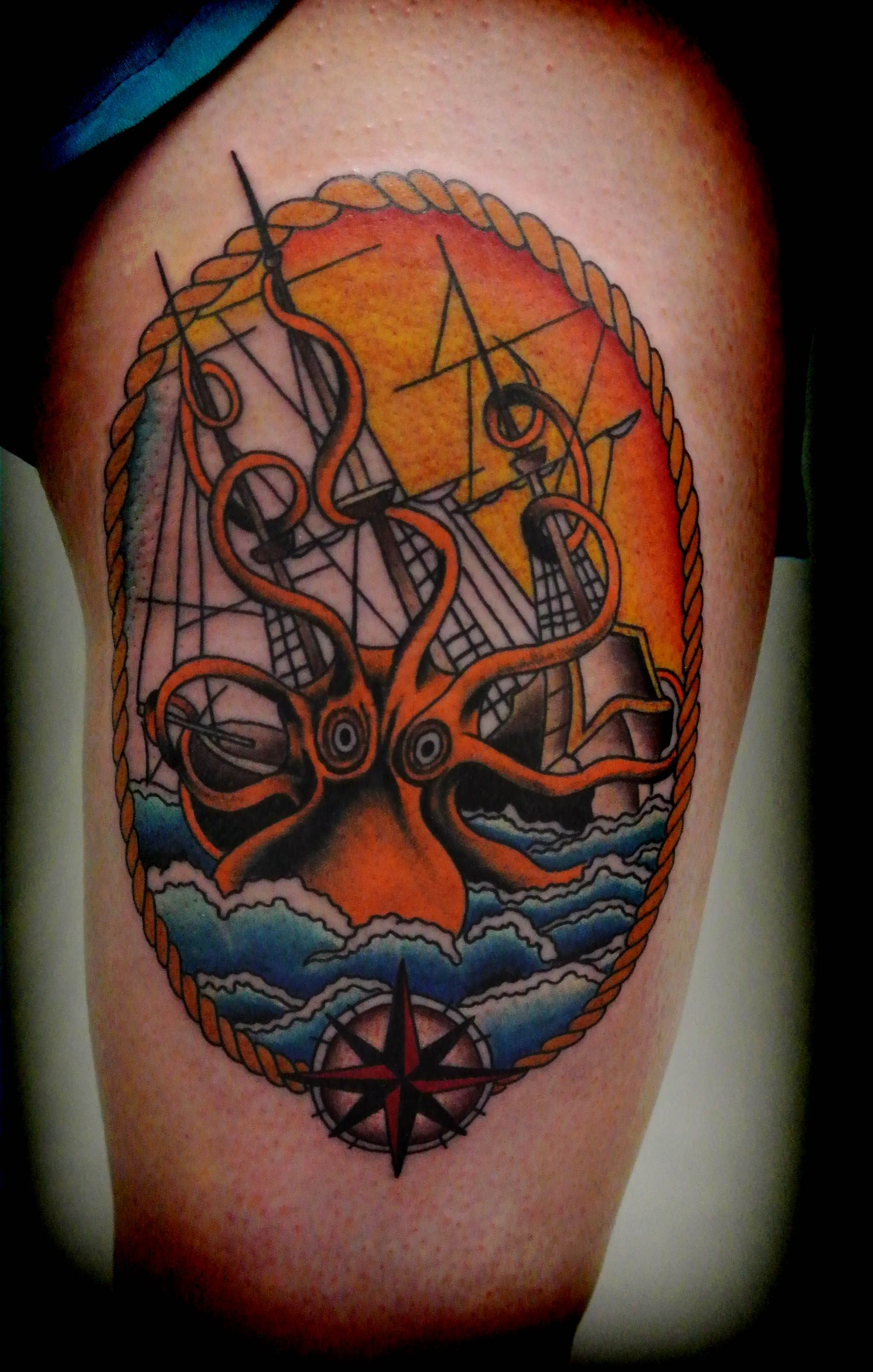 Tattoo By Lou Shaw Of Four Aces Tattoo In Aldinga Beach South Australia Thigh Piece With A Kraken Taking Down A S Ace Tattoo Traditional Tattoo Kraken Tattoo