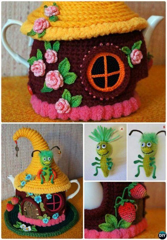Knit Fairy House Teapot Cozy Cover Pattern Free-Crochet Knit Tea ...