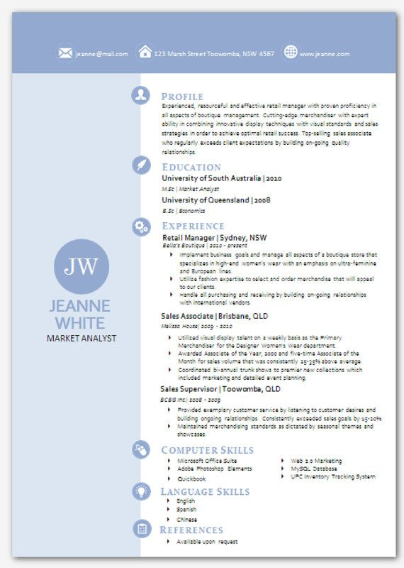 Modern Microsoft Word Resume Template Jeanne White by Inkpower