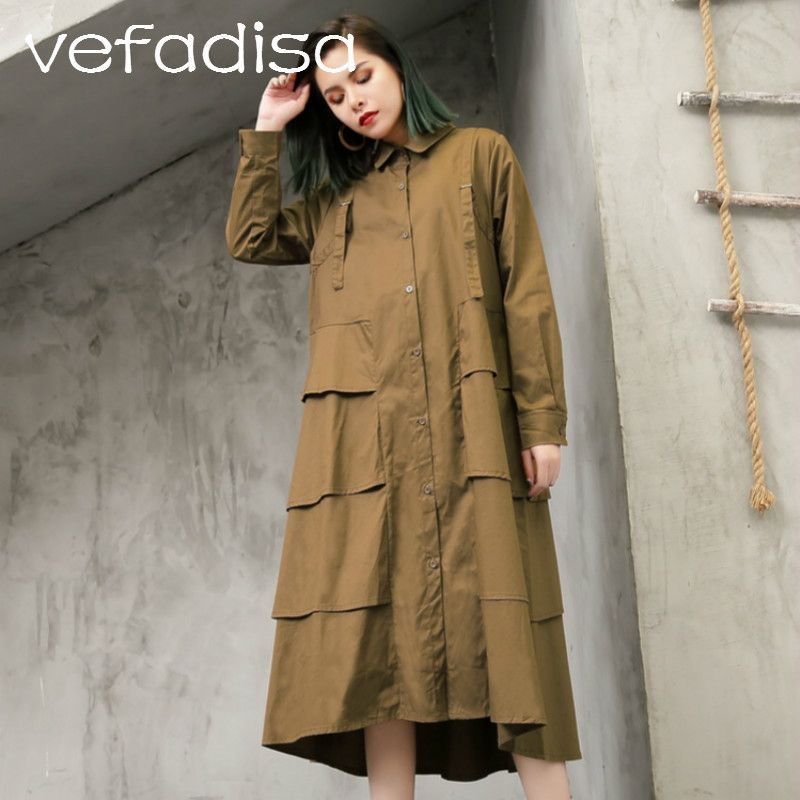 f1a03666202 Vefadisa 2018 Spring Plus Size Women Clothing Casual Long Shirt Dress Full  Sleeve Asymmetric Dress Irregular Loose Dress AD507