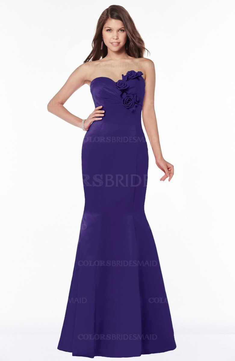 ColsBM Linda - Royal Purple Bridesmaid Dresses   Satin flowers ...