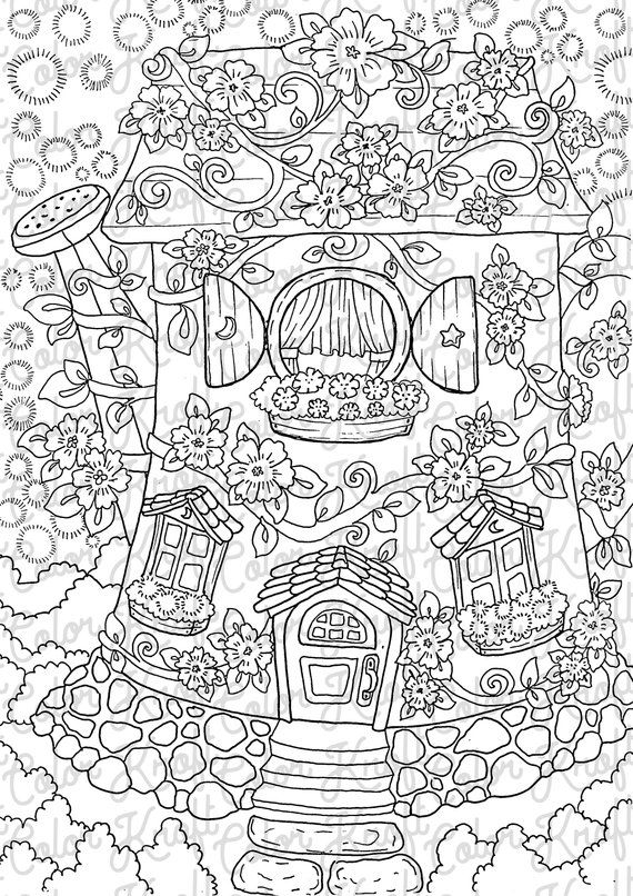 Watering Can House Of Ten Coloring Page Digital Download Etsy Coloring Pages Fairy Coloring Pages Abstract Coloring Pages