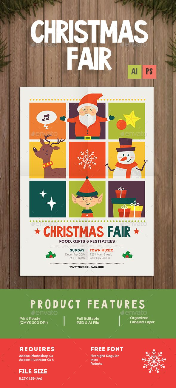 Christmas Fair Flyer Flyer template, Template and Event flyers - christmas flyer template