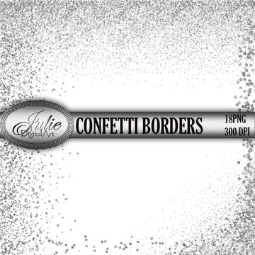 Glitter Confetti Borders Clipart Silver Borders Overlay Silver Confett Julsdart Clip Art Borders Clip Art Gold Digital Frame