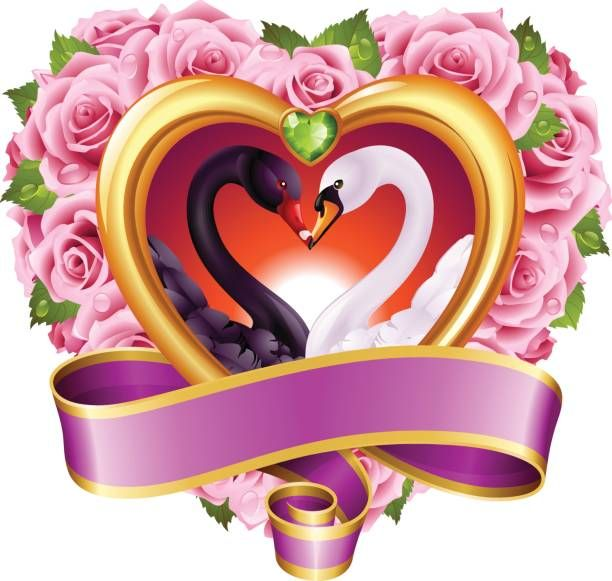 Hearts, roses and swans vector art illustration