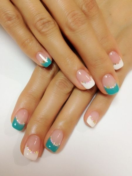 pretty blue and white french nails. For more Nail Art ideas, visit www.nailartbank.com