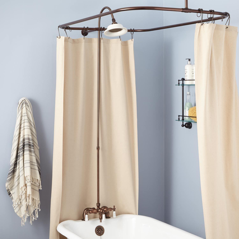 Rim Mount Clawfoot Tub Shower Kit In Porcelain Shower Head In 60