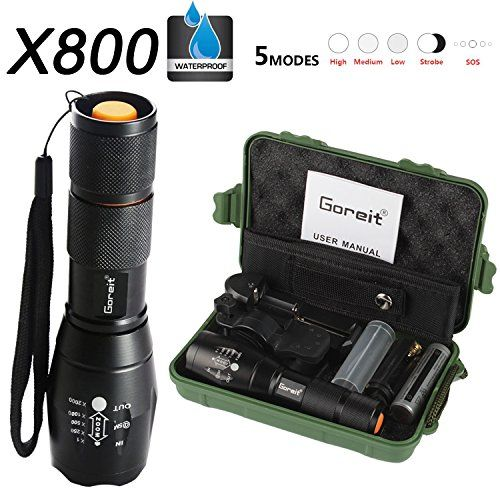 5000LM Tactical Zoomable T6 LED Military Military Torch High Power Flashlight A
