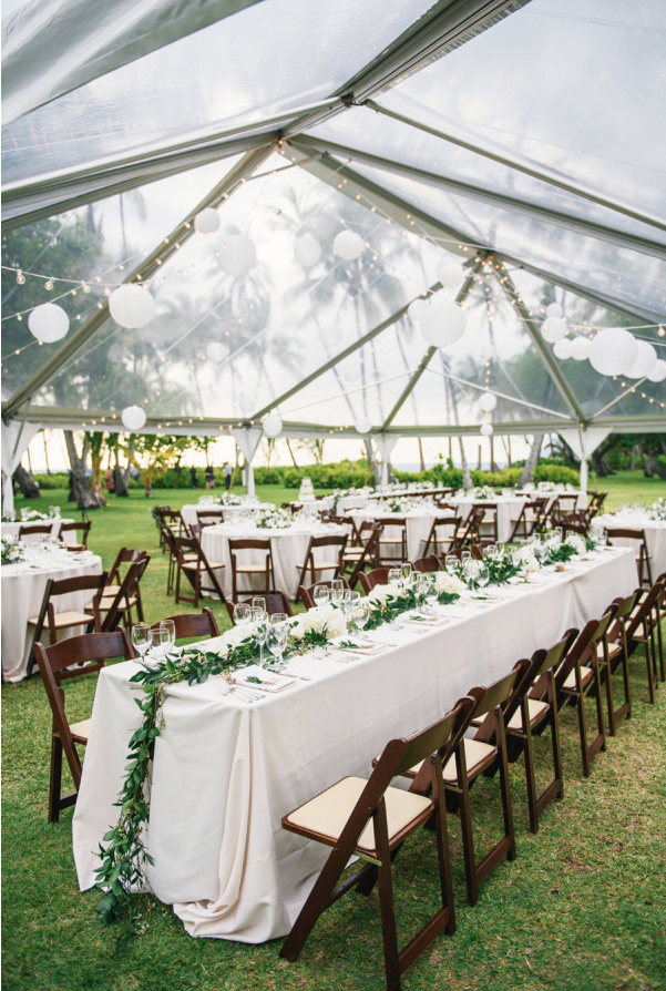 Dark Wood Folding Chairs With Standard Banquet Tables