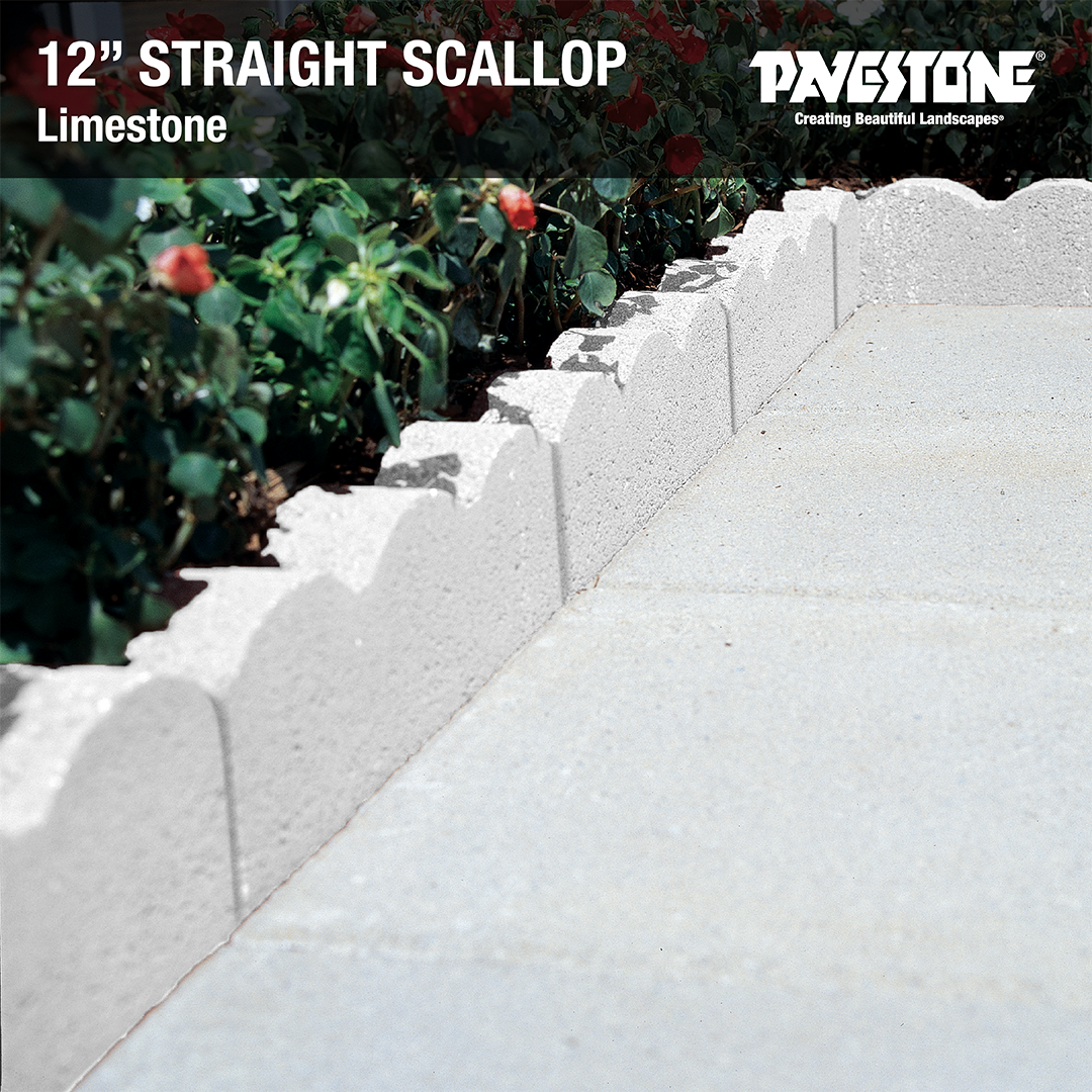 Border Walkways And Gardens With Efficiency And Ease Pavestone 12inchstraightscallop Edger Limestone Pavestoneedg Concrete Edger Linear Pattern Landscape