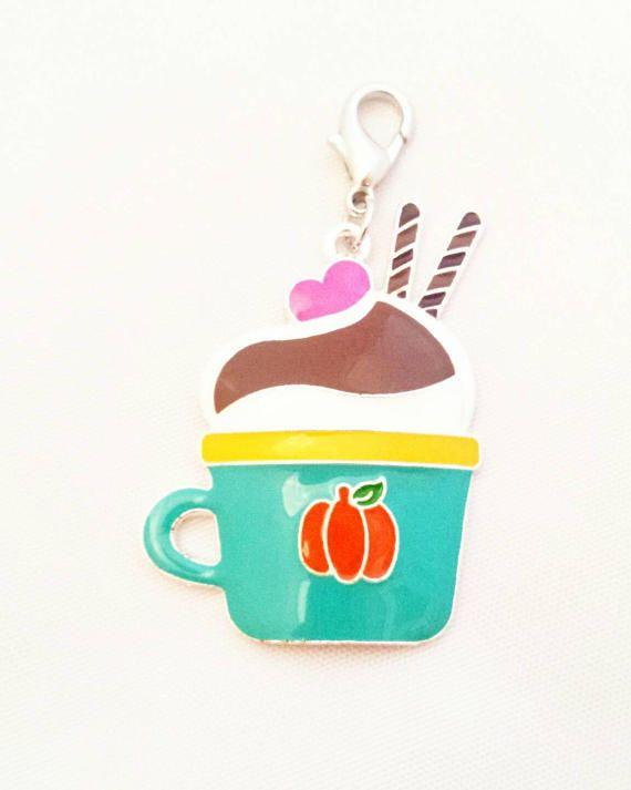 Pumpkin Spice Latte Planner Charm// Autumn Zipper Charm// Fall