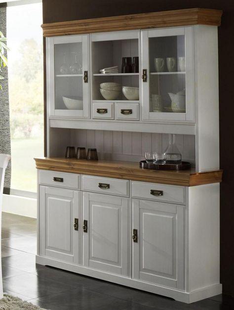 Massivholz Buffetschrank Anrichte mit Aufsatz Kiefer massiv weiß - ikea sideboard küche