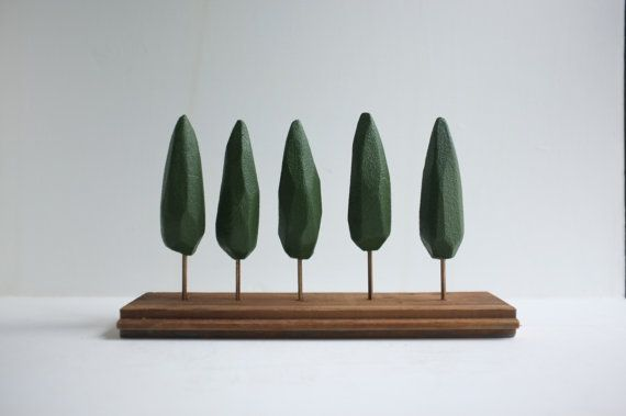 Small tabletop forest - miniature stand of cypress trees - green geometric trees