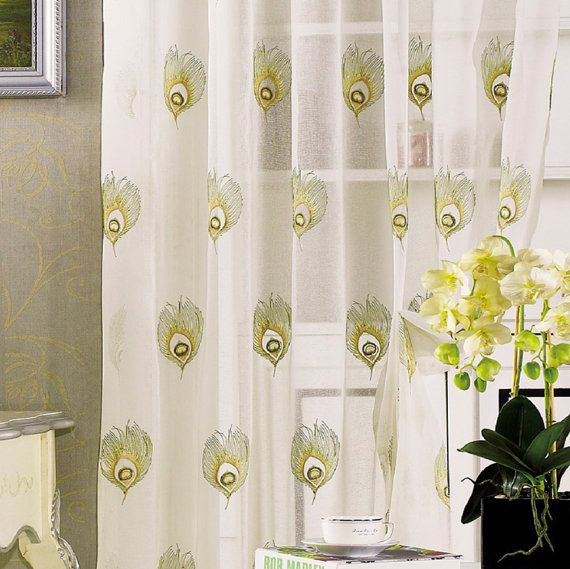 "Two Peacock Sheer Curtains Custom Made to Order Upto 104""L"
