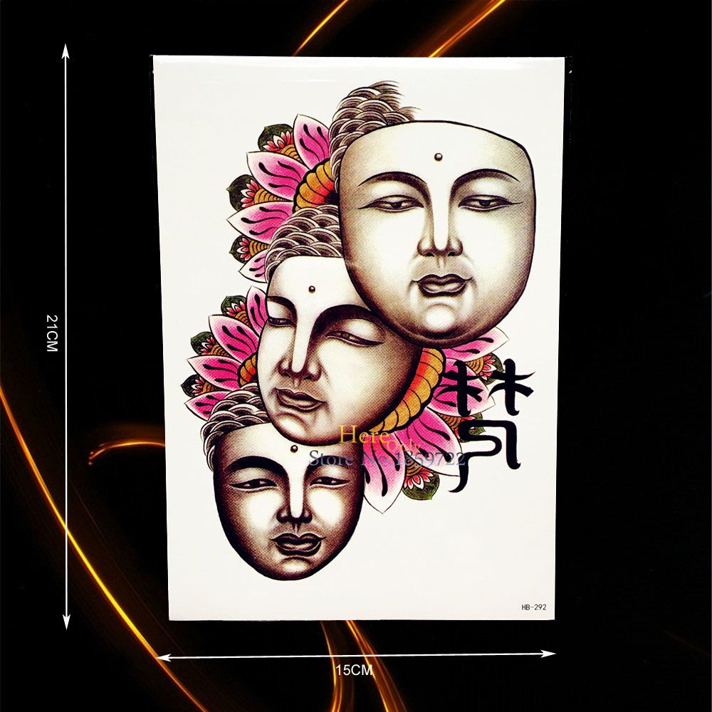 1pc disposable flash temporary tattoo buddha lotus tattoo