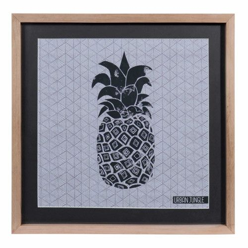 tableau ananas en bois et verre 28 x 38 cm urban maisons du monde ananas. Black Bedroom Furniture Sets. Home Design Ideas