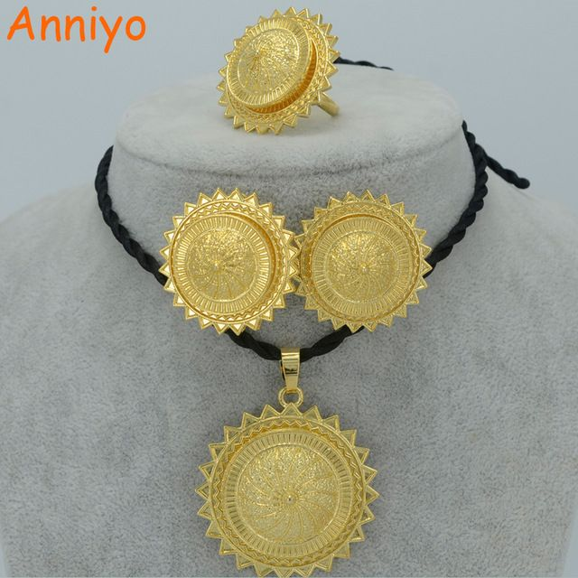 Special Price Anniyo Ethiopian Gold Color Jewelry Set Pendant Rope Earrings Ring Africa Wedding Habesha Eritrea New Design 018206 Just Only 8 20