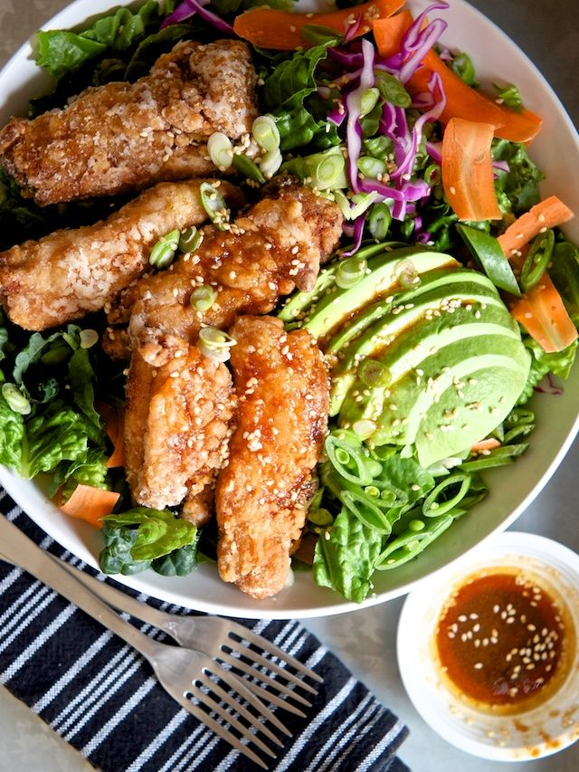 Japanese Fried Chicken Salad with Sesame Soy Dressing