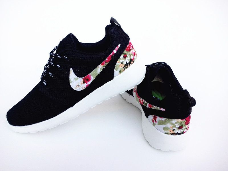 bb3a23b28ef21 UK Sportwear - Nike Roshe Run Floral Womens All Black Fabric Flowers Sale