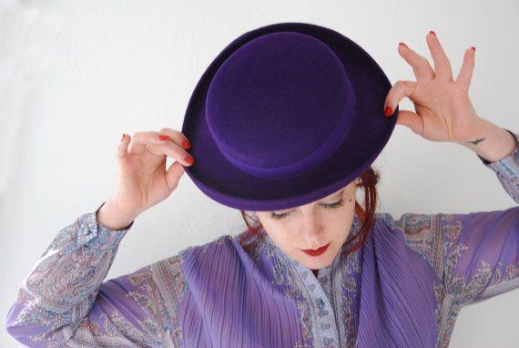 Purple wool hat by RoseleinRarities on Etsy
