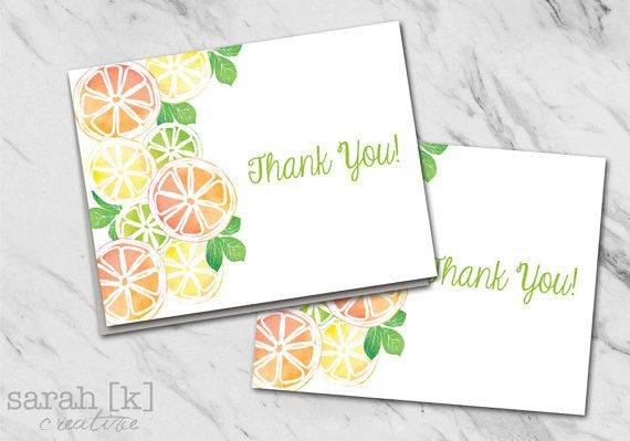 Citrus fruit thank you note Summer thank you by sarahkcreative