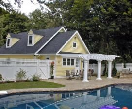 Poolhouse And Detached Garage Combo Pool Houses Backyard Patio Designs Hamptons House