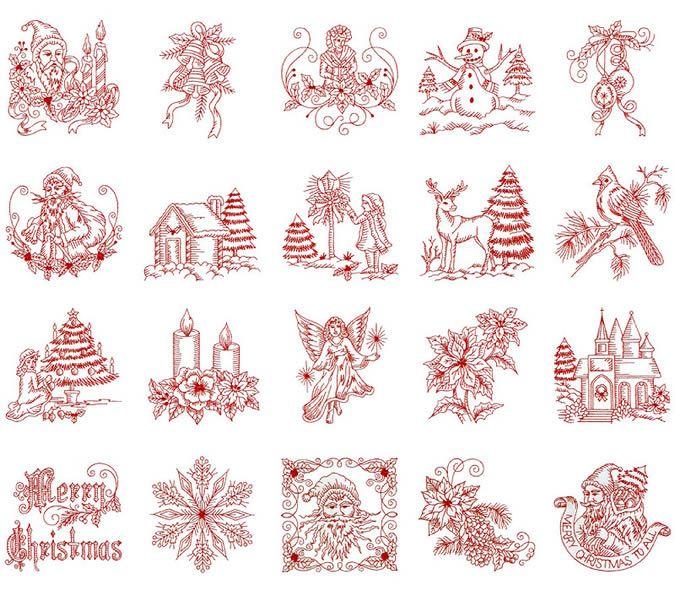 Free Christmas Redwork Embroidery Designs Vintage Christmas