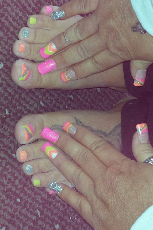 Pink orange yellow silver vacation nails ant acrylic toes | acrylic ...