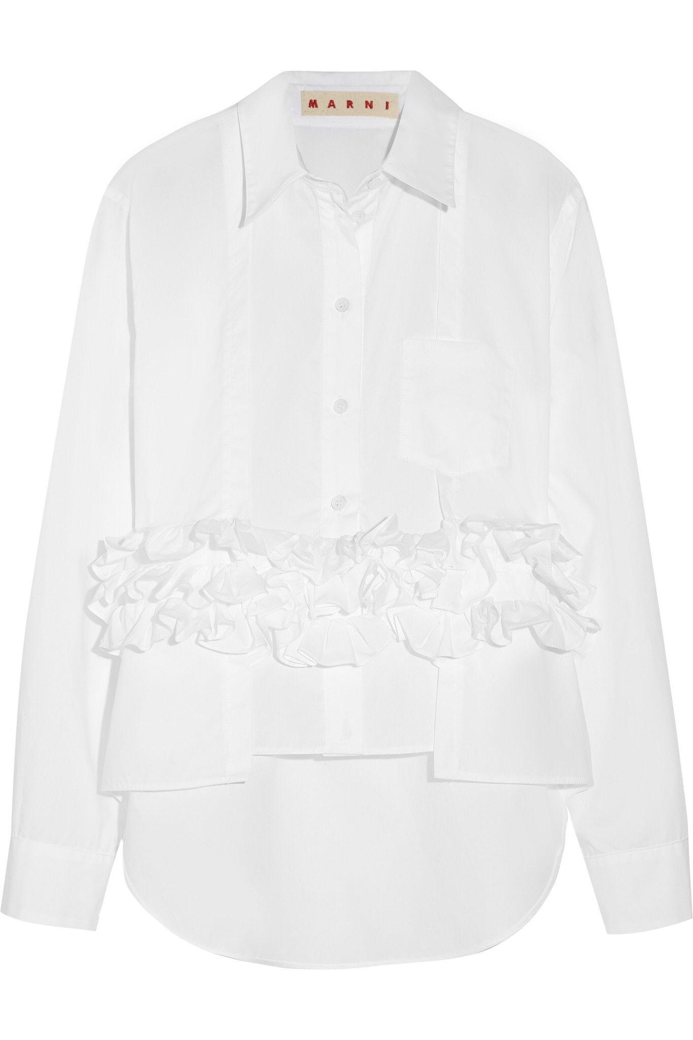 Marni - Ruffled cotton-poplin shirt