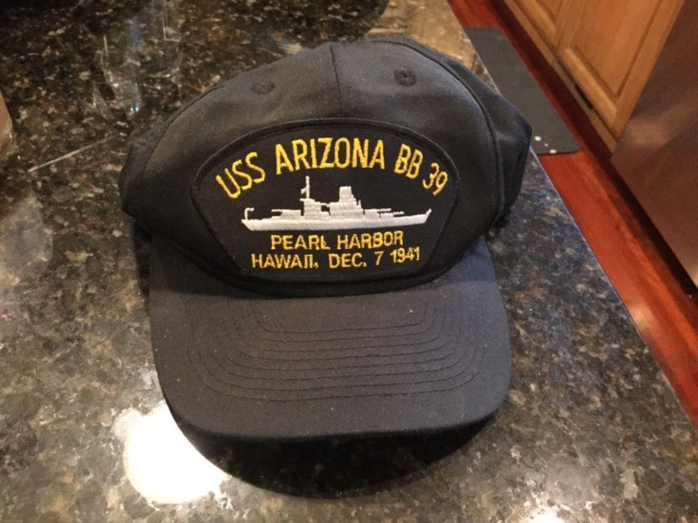 Uss arizona souvenir snap back cap hat bb-39 pearl harbor hawaii.