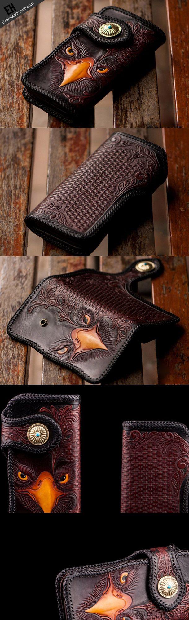 Handmade red brown leather floral eagle carved biker wallet bifold lon | EverHandmade