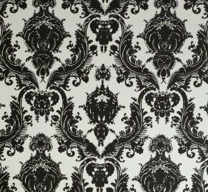 Damsel Self Adhesive Temporary Wallpaper White And Black Baroque Damask Repeat Pattern
