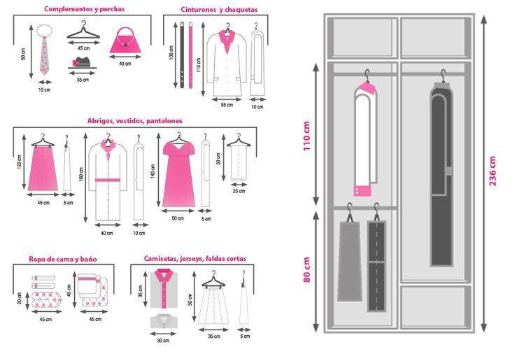 Guia medida ropa para vestidores 01 dormitorios for Guias para baldas
