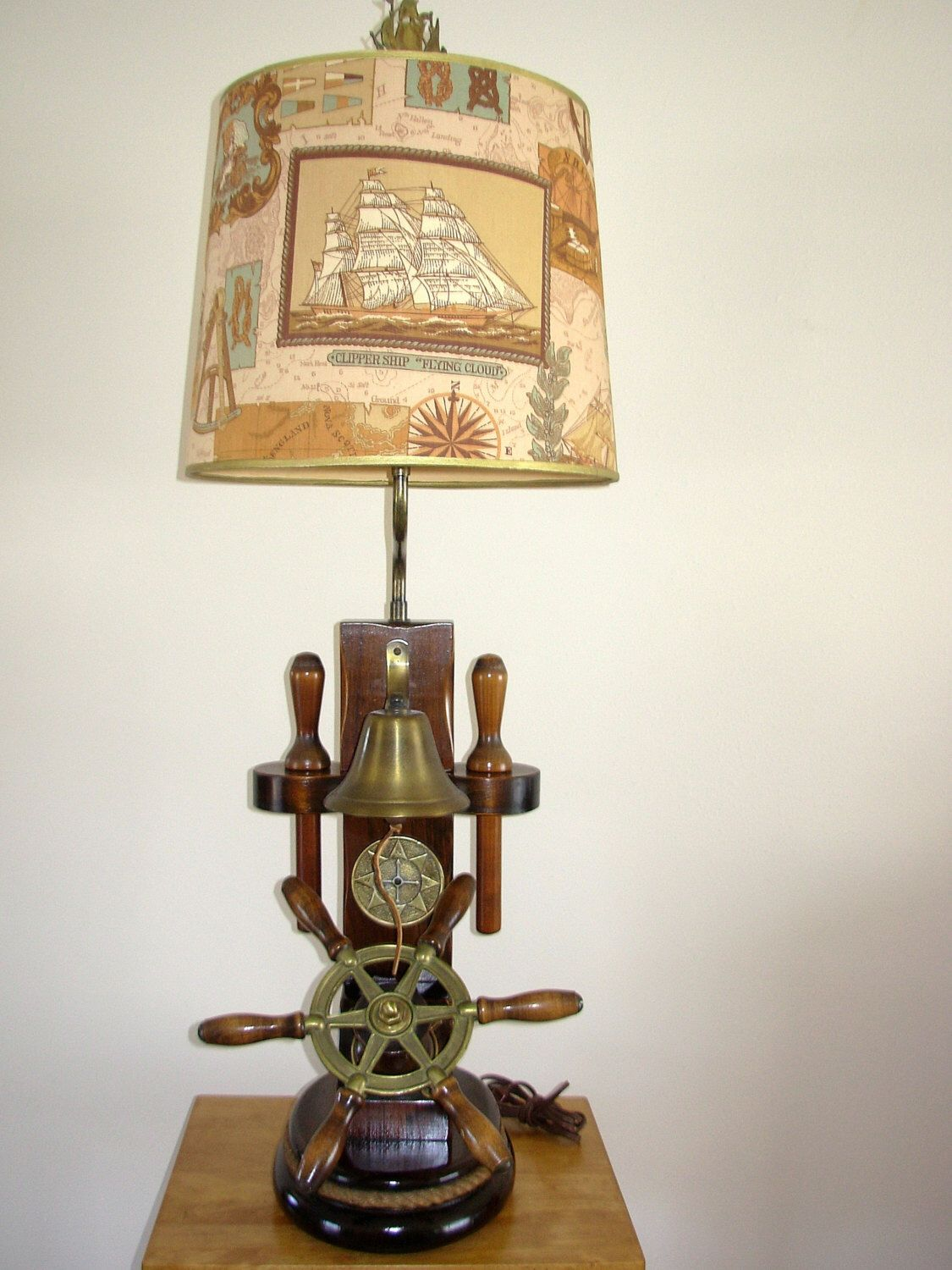 Vintage Nautical Lamp Ship's Wheel, Compass, Bell, & Belaying Pins