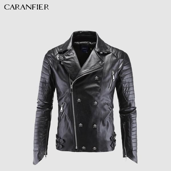 03c4af39d0c9e  jackets CARANFIER Brand Men s Autumn Leather Jacket Skull Rivet Studded  Punk Rock Black Biker Style