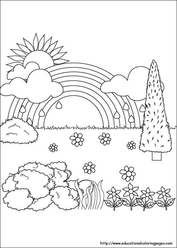 Easy Nature Coloring Page For Preschoolers