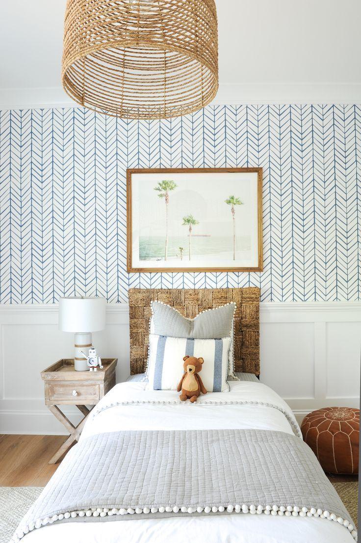 Photo of My Full Home Tour – Monika Hibbs –  modern coastal kid room decor with herringbo…