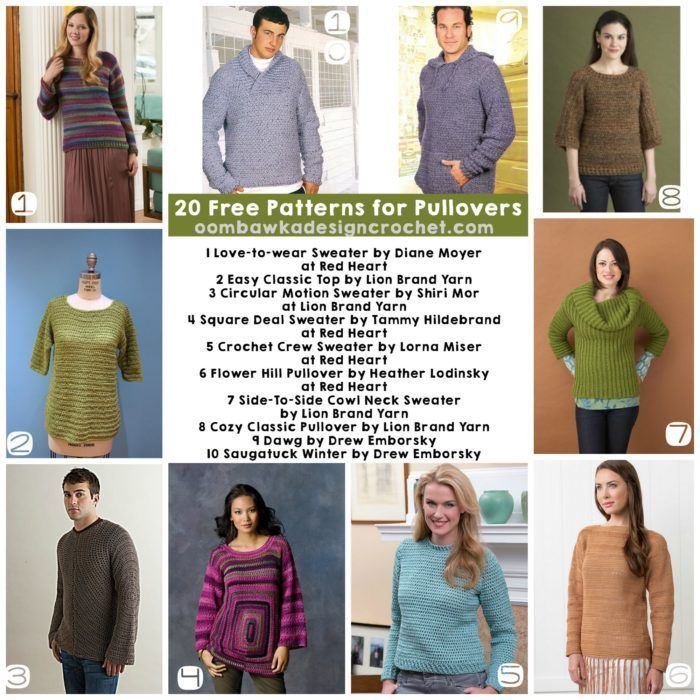 20 Free Patterns for Pullovers | Suéteres, Patrones y Tejido