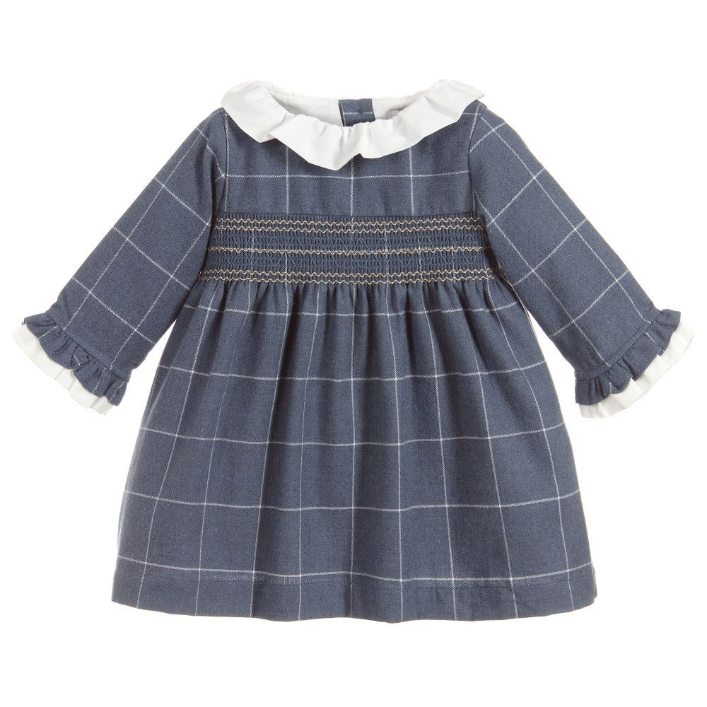 e290005f00 Girls Blue Check Cotton Dress for Girl by Chic by Laranjinha. Discover more  beautiful designer Dresses for kids online
