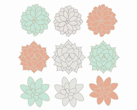 Digital Clip Art Succulents Clipart Flowers Coral, Mint, Gray ...