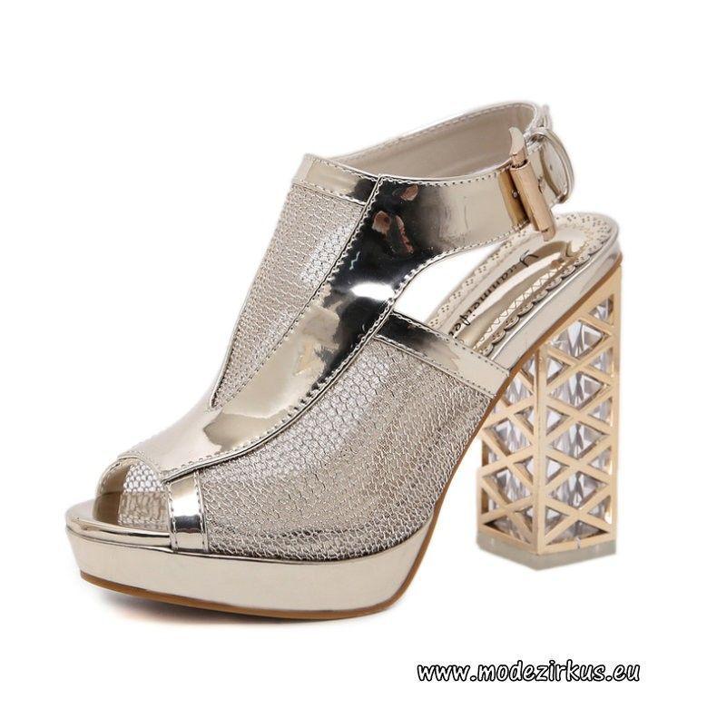 Peep Toe Damen Pumps aus PU mit dickem Absatz Silber #mode