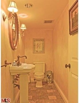 Barbara Stock Interior Design A sliver of a powder room carved out of spare  garage space
