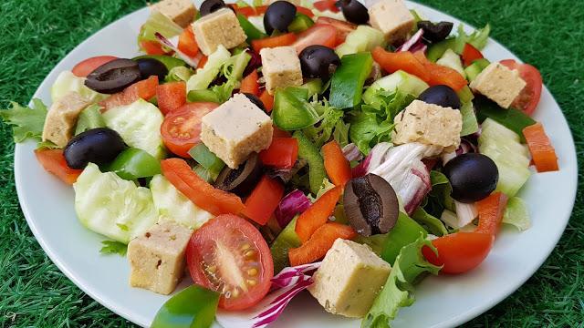 Greek Salad With Homemade Feta Cheese Vegan in 2020 ...