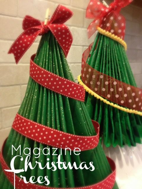 Diy Christmas Tree Folded Magazines Xmas Crafts Christmas Decor Diy Christmas Tree Decorations Diy